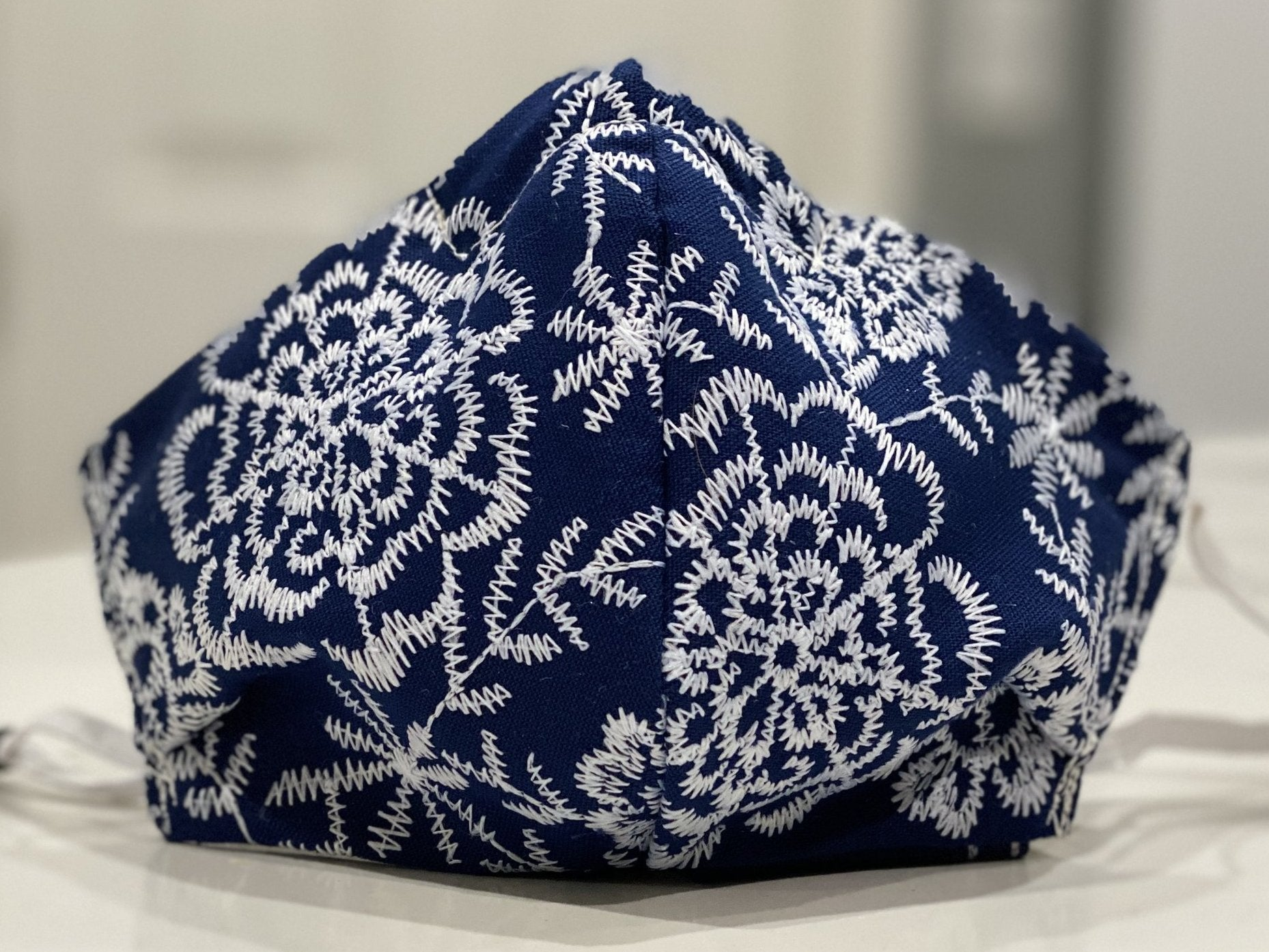 Face Covering Blue with White floral embroidery