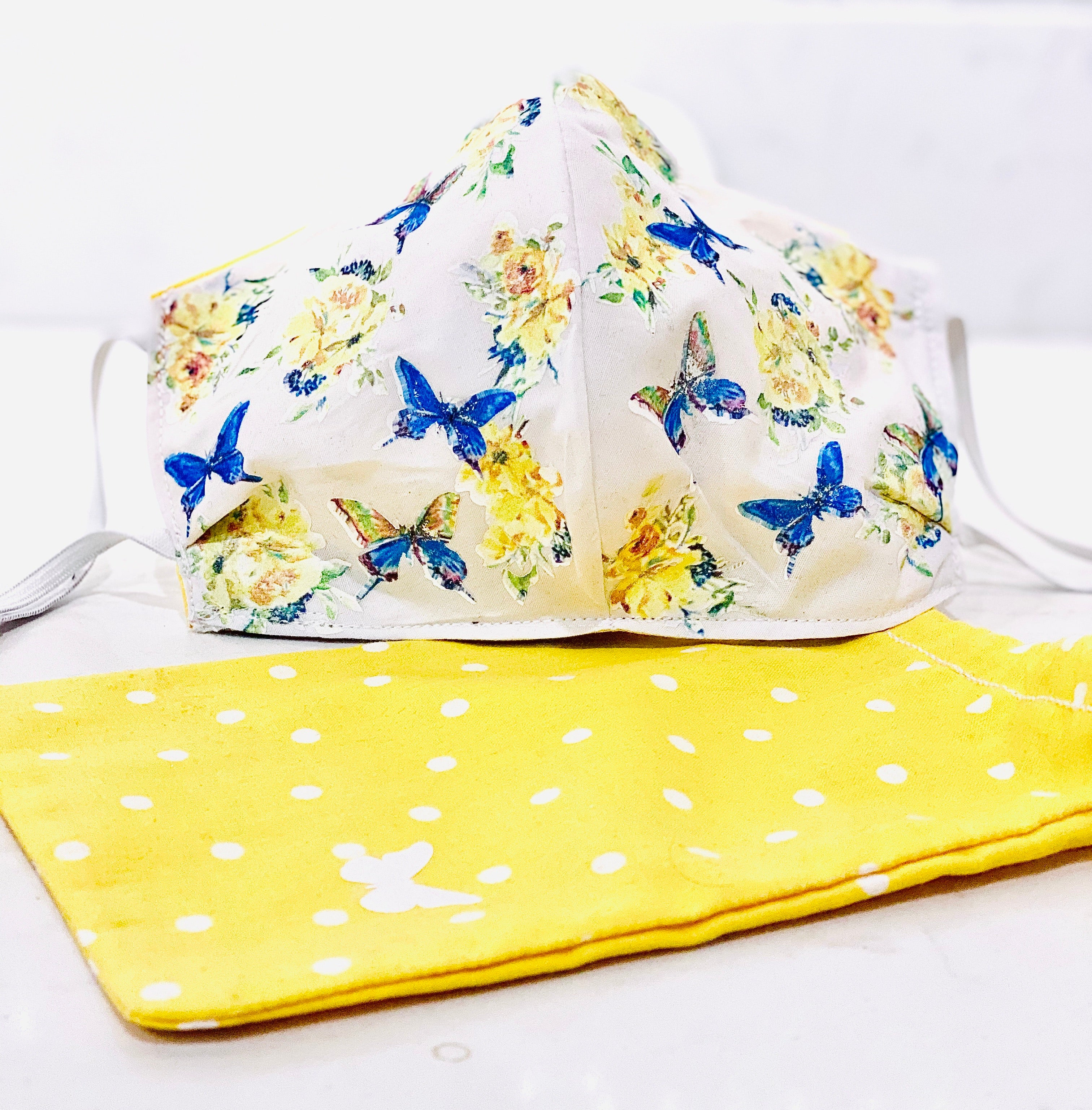 Face Coverings White with Yellow Flowers and Butterflies custom designed