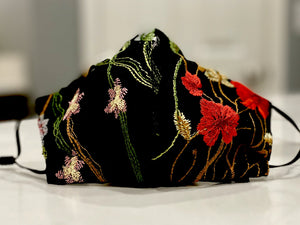 Face Coverings Black with colorful embroidery floral design