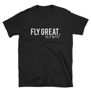 FLY GREAT. FLY B777 T-Shirt | 2-seitiger Druck - myaviationshirt
