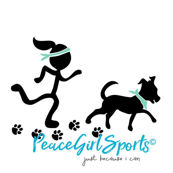Peace Girl Runner with Dog Running Partner