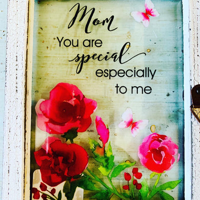 Mom Glass Plaque w\Quote