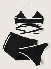 3 in 1 Contrast Binding Bikini Swimsuit With Shorts