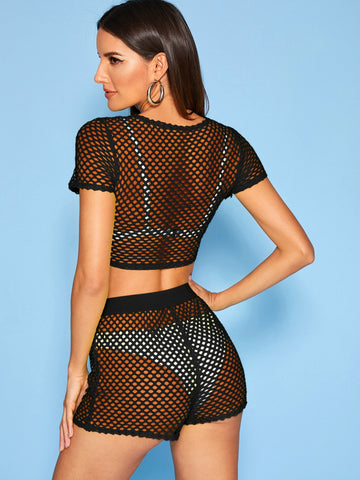 Fishnet Mesh Crop Top & Shorts Set Without Lingerie