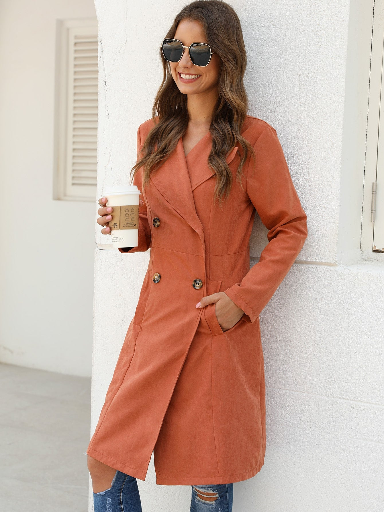 Double Button Pocket Side Pea Coat