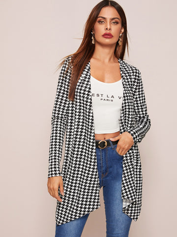 Open Front Asymmetrical Hem Plaid Coat