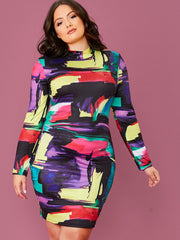 Plus Size Brush Stroke Print Bodycon Dress