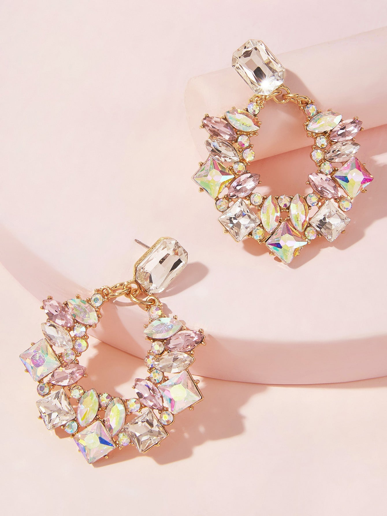 Rhinestone Decor Hoop Drop Earrings