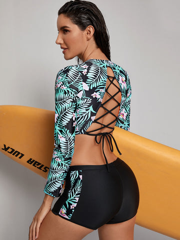 Tropical Lace-up Boyleg Surfing Swimsuit