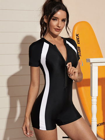 Contrast Trim Zipper Front Surfing Swimsuit