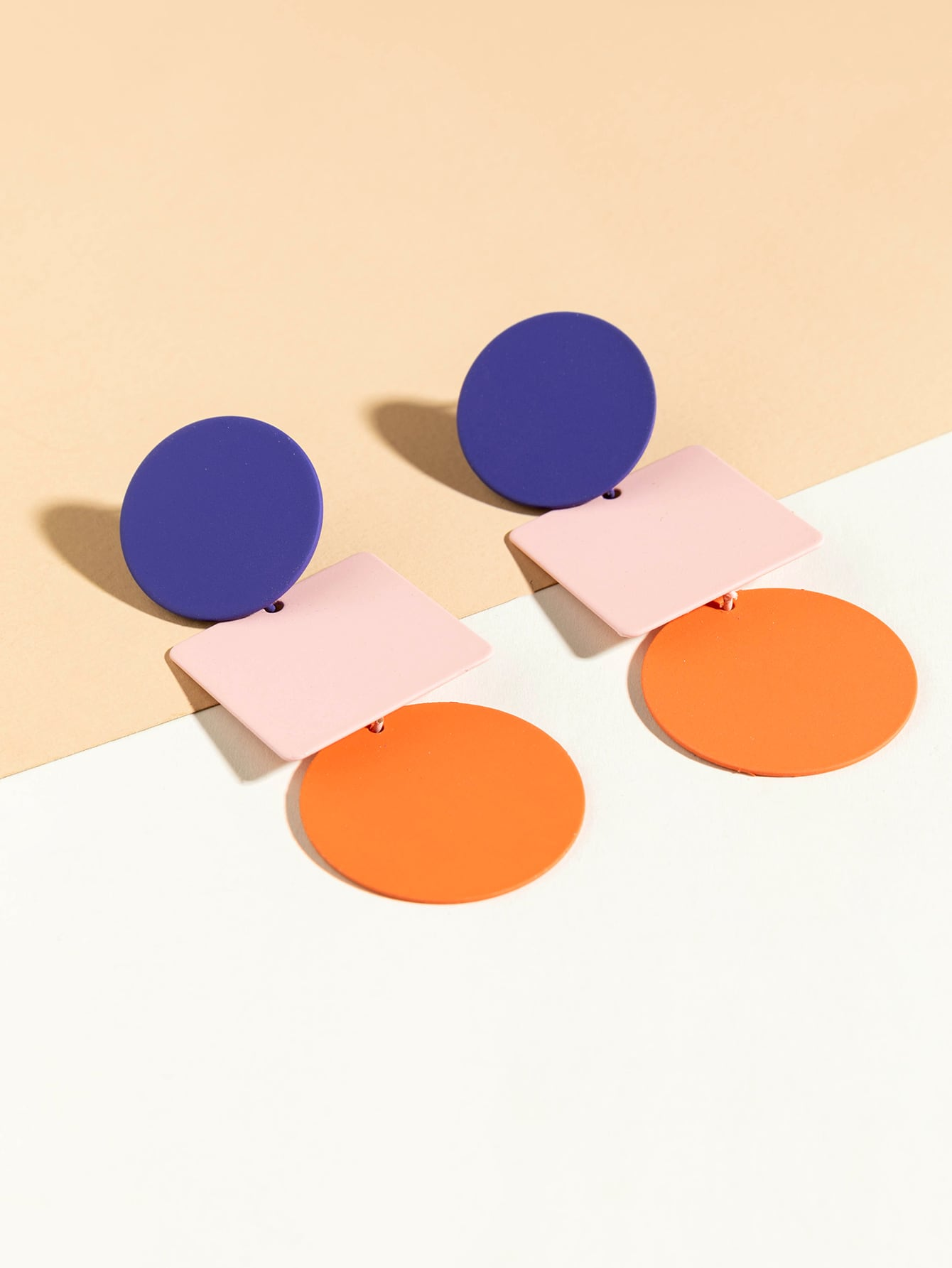 Color Block Geometric Drop Earrings