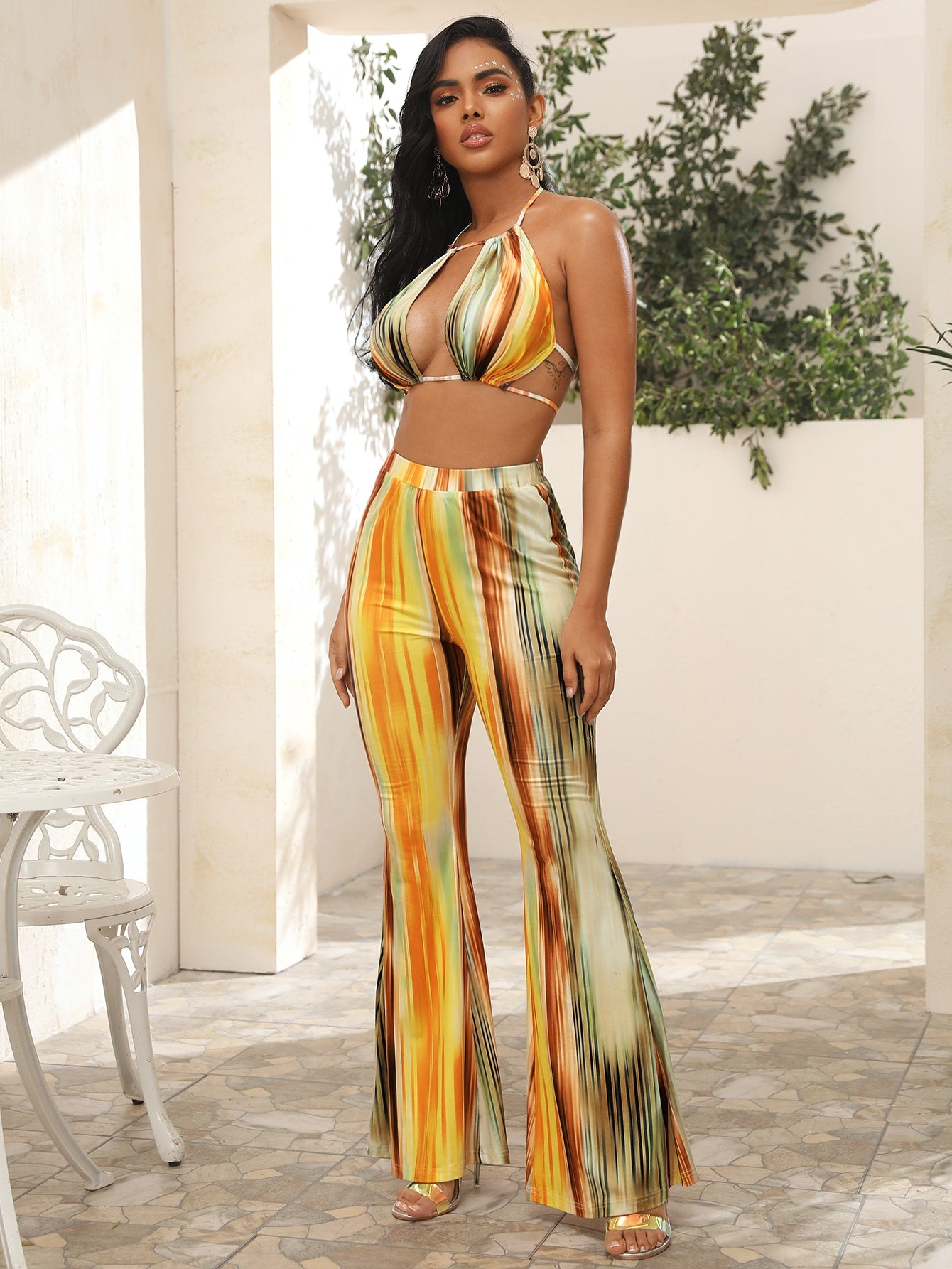 Cutout Front Tie Dye Halter Top and Flare Leg Pants Set