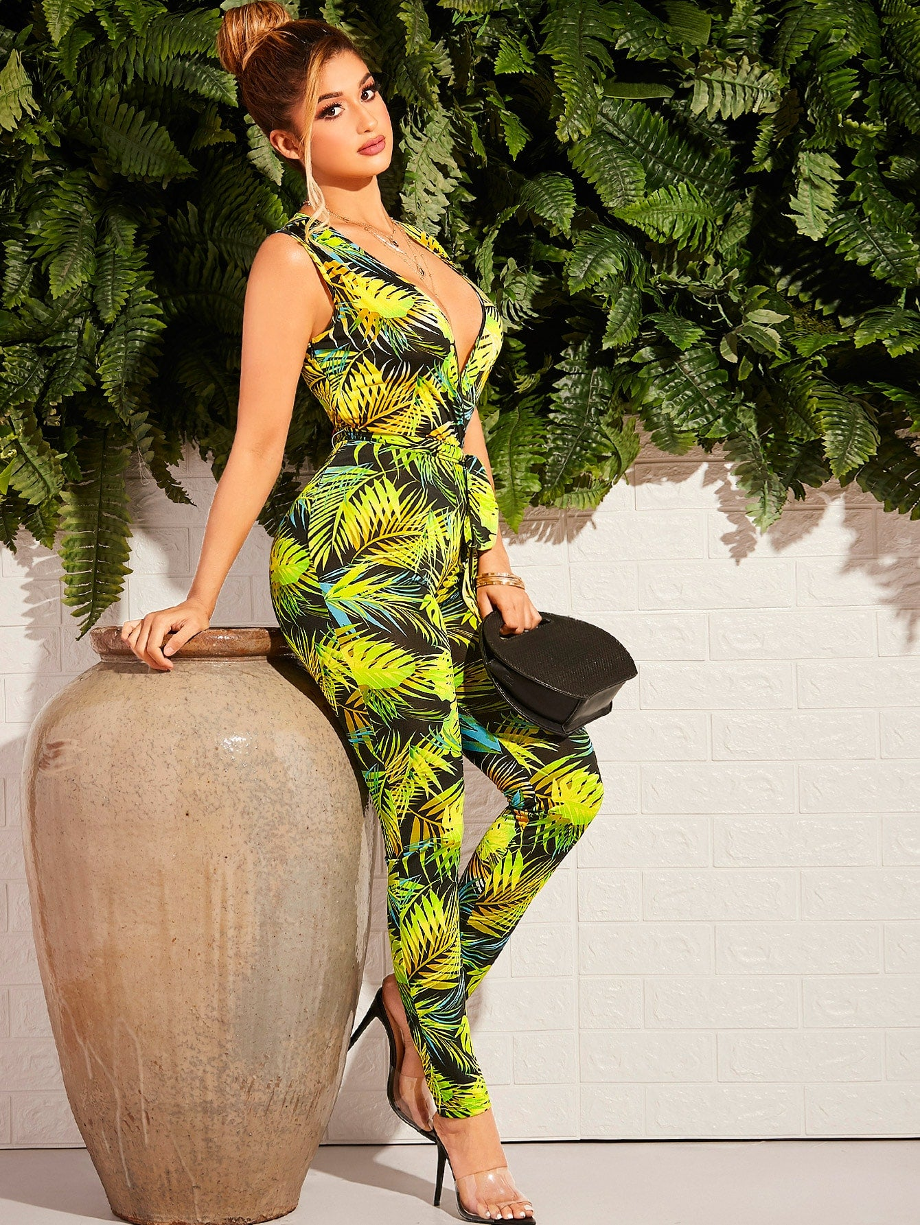 Plunging Neck Tropical Print Belted Jumpsuit