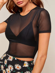 Mesh Crop Top Without Bra