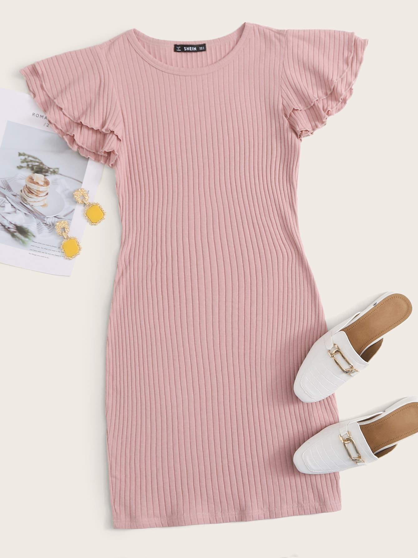 Layered Flutter Sleeve Rib-knit Dress