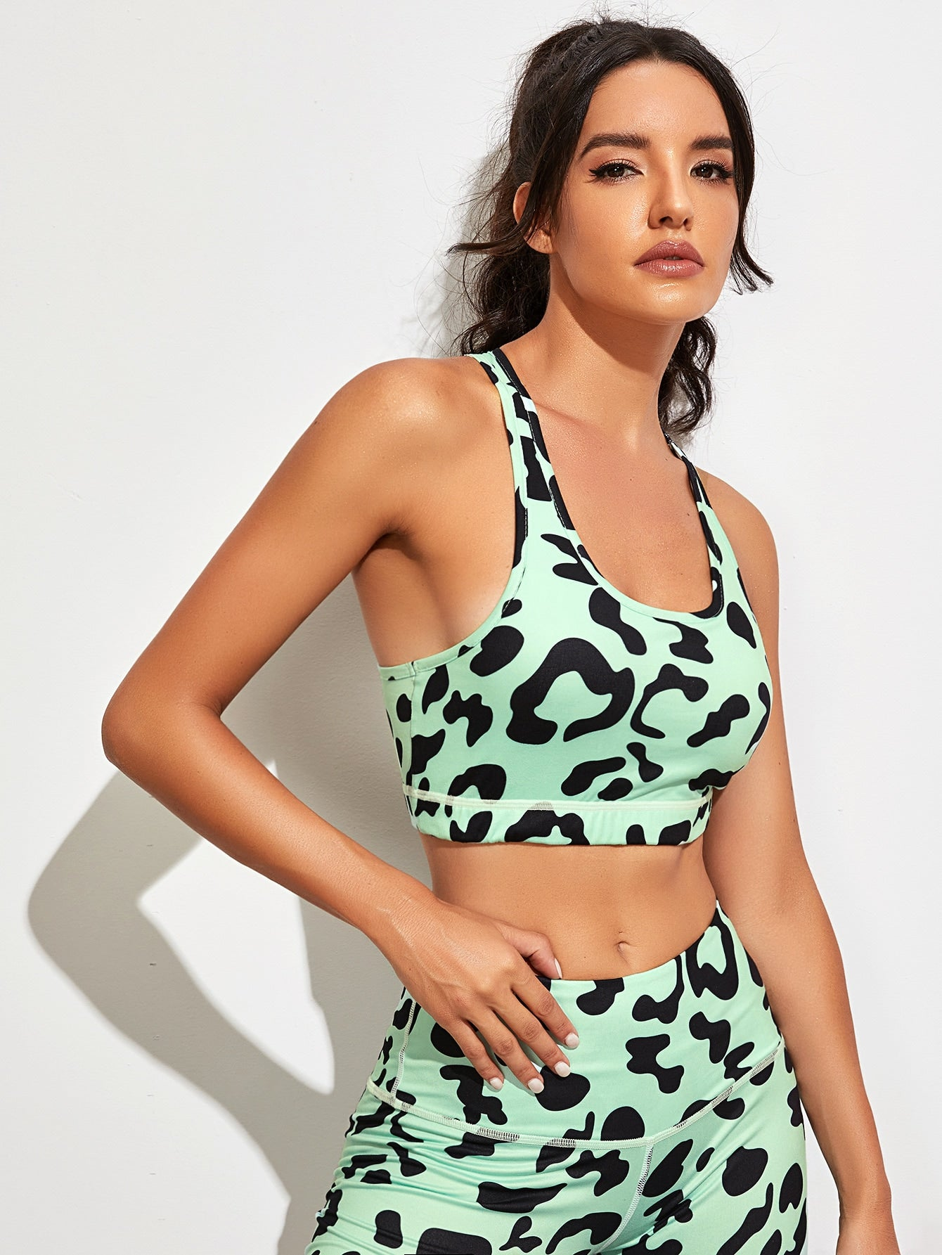 Leopard Print Racer Back Sports Bra
