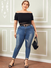 Plus Size Rib-knit Cutout Detail Foldover Bardot Top