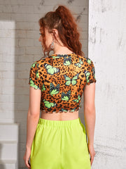 Levels Lettuce Trim Butterfly & Leopard Top