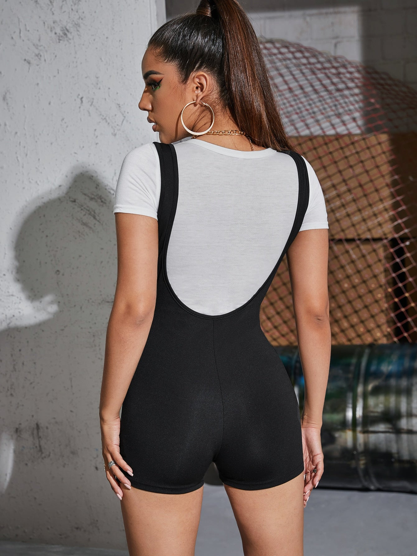 Solid Unitard Romper Without Top