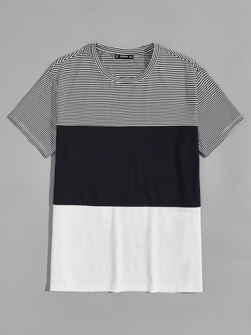 Colorblock Striped Panel Top