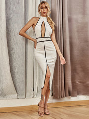 Missord Backless Cut Out Contrast Binding Halter Dress