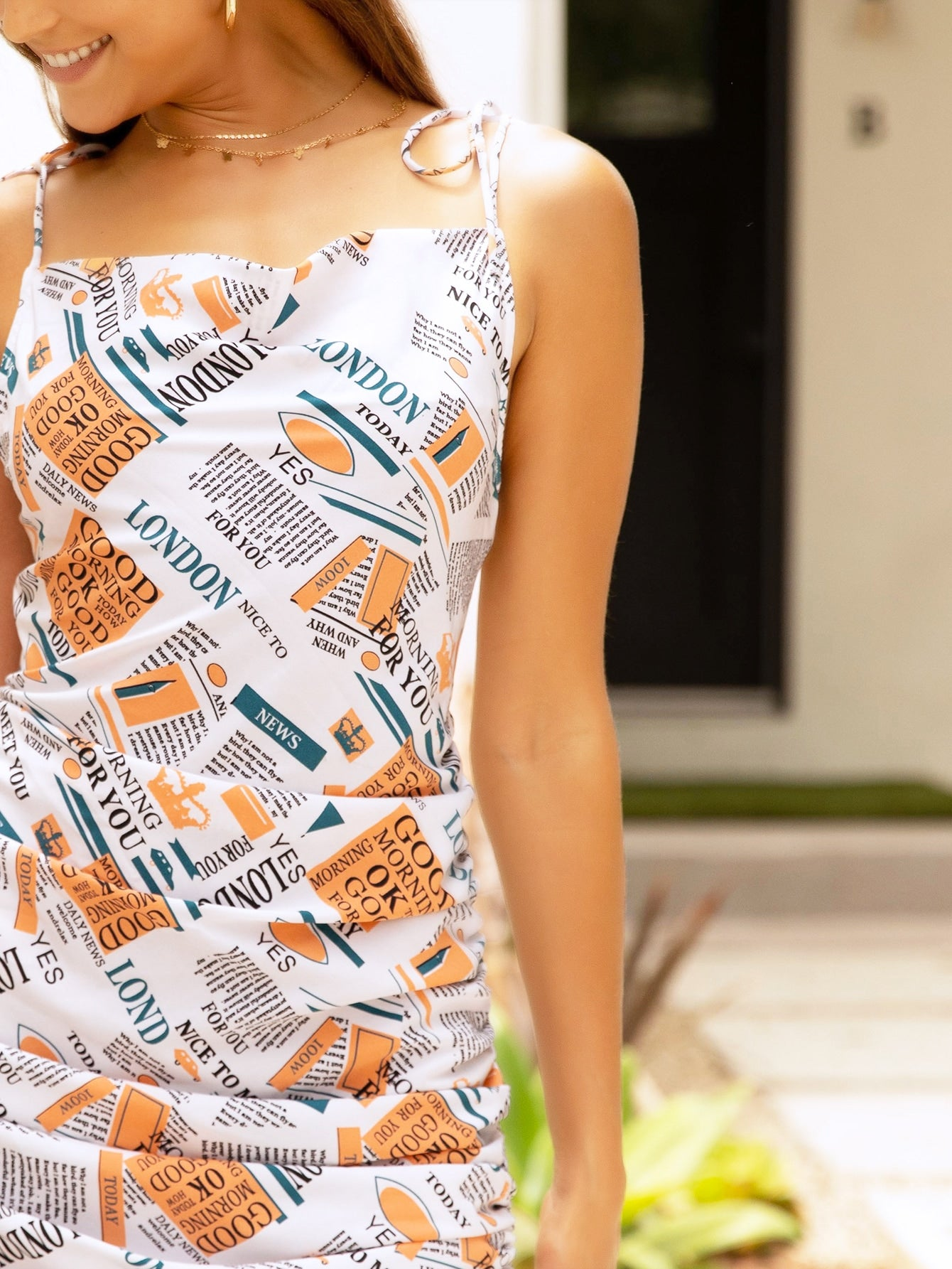 Newspaper Print Drawstring Ruched Cami Dress