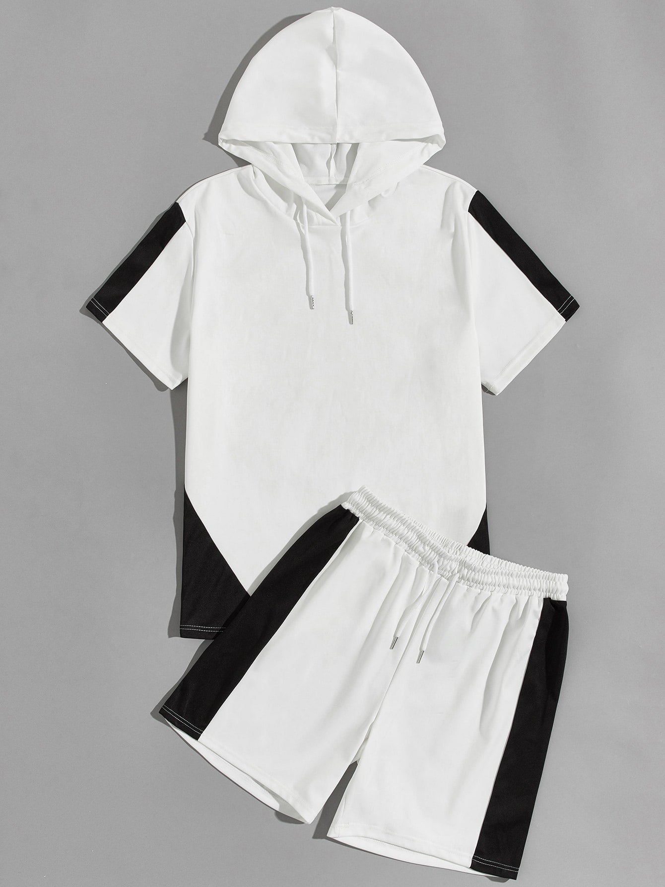 Colorblock Hooded Tee With Track Shorts