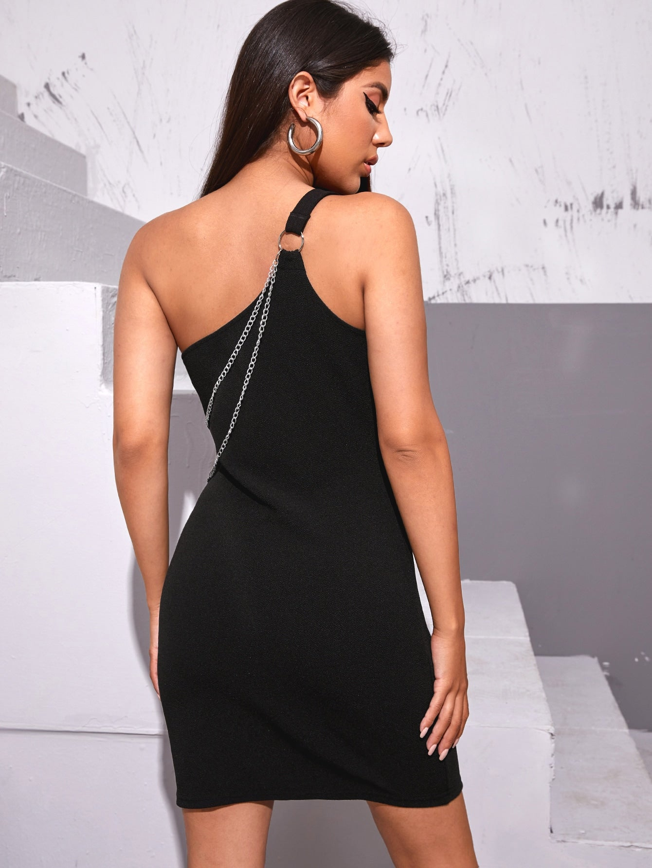 One Shoulder Chain Fitted Dress