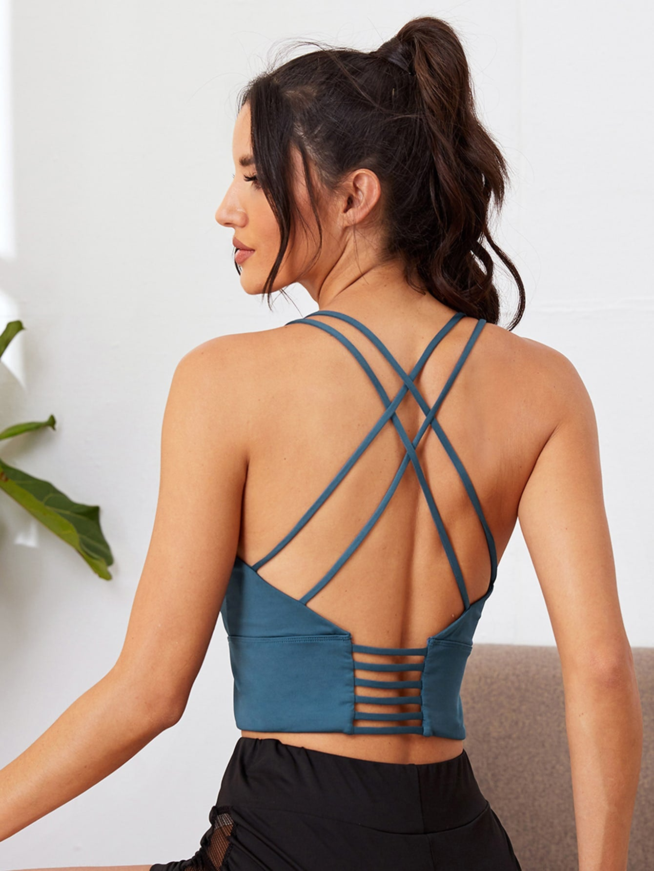 Solid Criss Cross Back Sports Bra