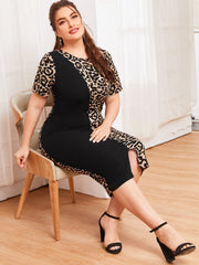 Plus Size Split Hem Solid Panel Leopard Dress