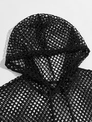 Fishnet Mesh Hooded Top