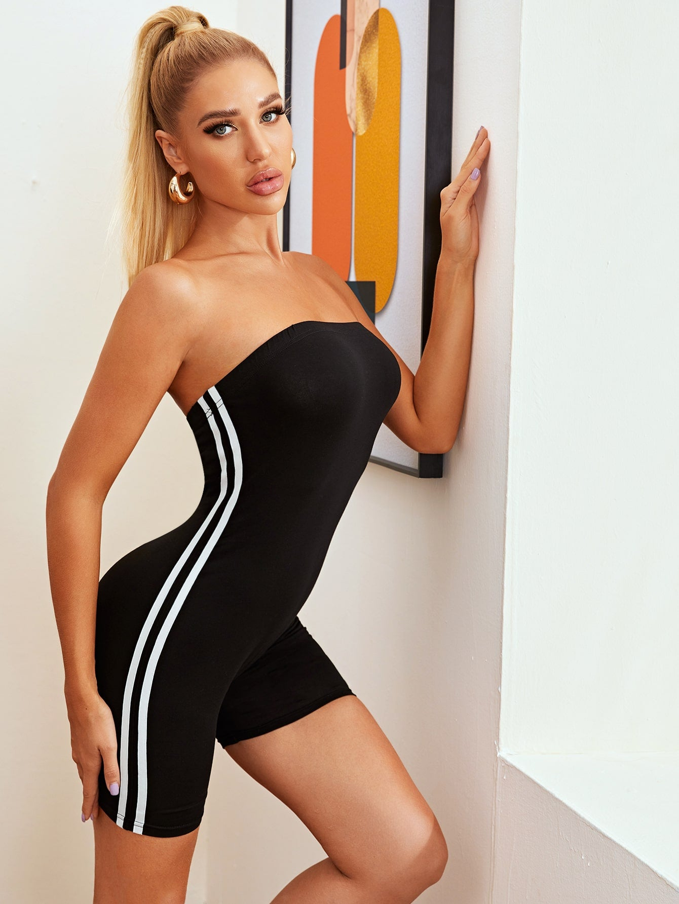 Contrast Striped Tape Strapless Unitard Romper