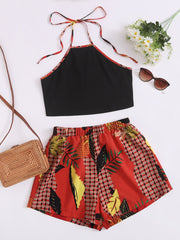 Tie Back Halter Top & Leaf And Plaid Print Shorts