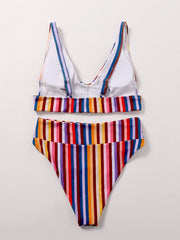 Colorful Stripe High Waisted Bikini Swimsuit