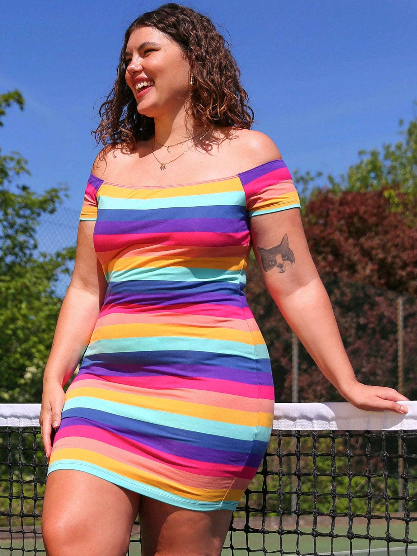 Plus Size Off Shoulder Rainbow Striped Bodycon Dress