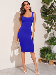 Low Back Solid Pencil Dress