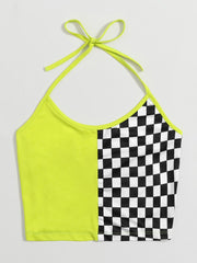 Neon Checker Spliced Crop Halter Top