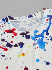Men Paint Splatter Print Tee