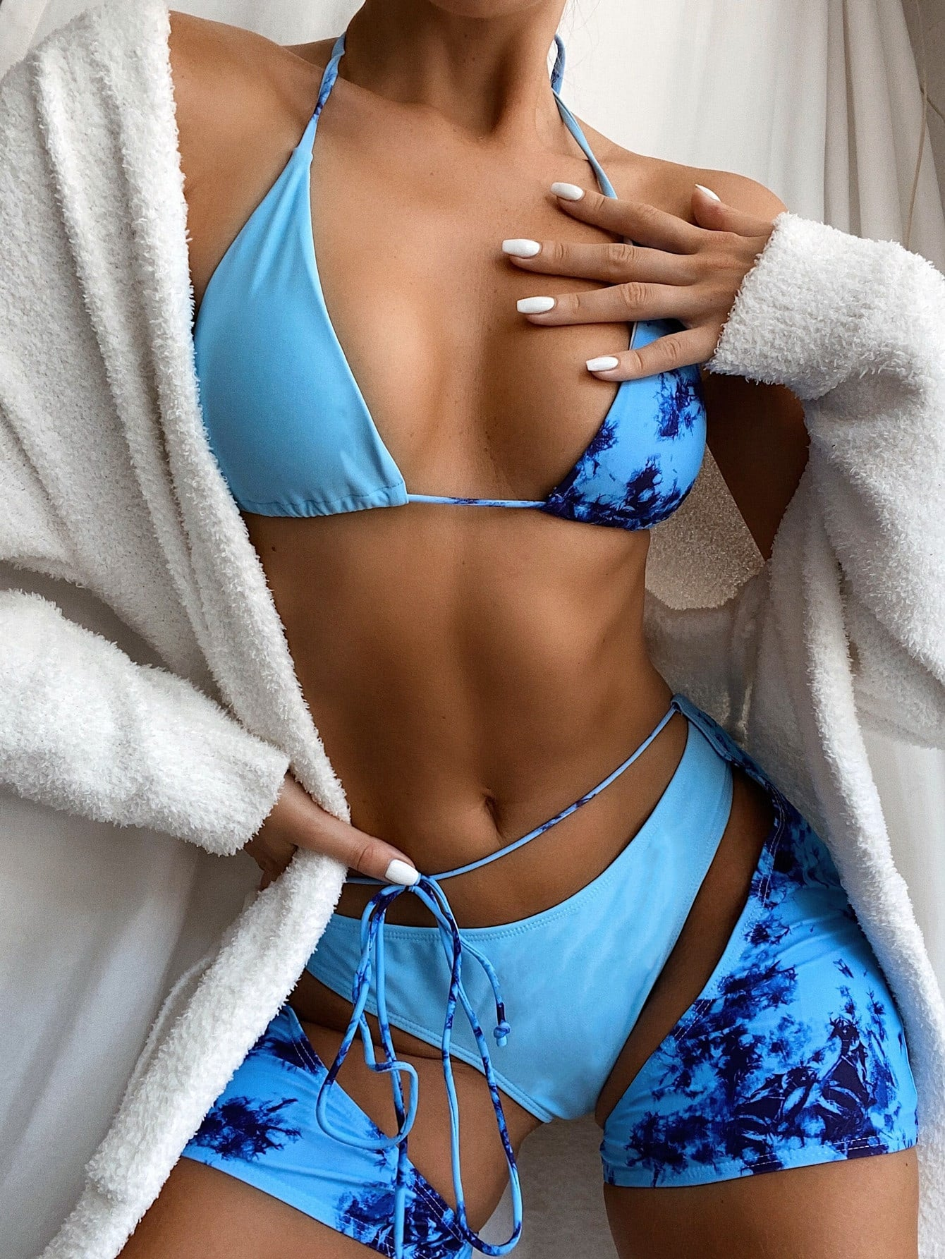 3-Piece Tie Dye Triangle Co-ord Bikini Swimsuit