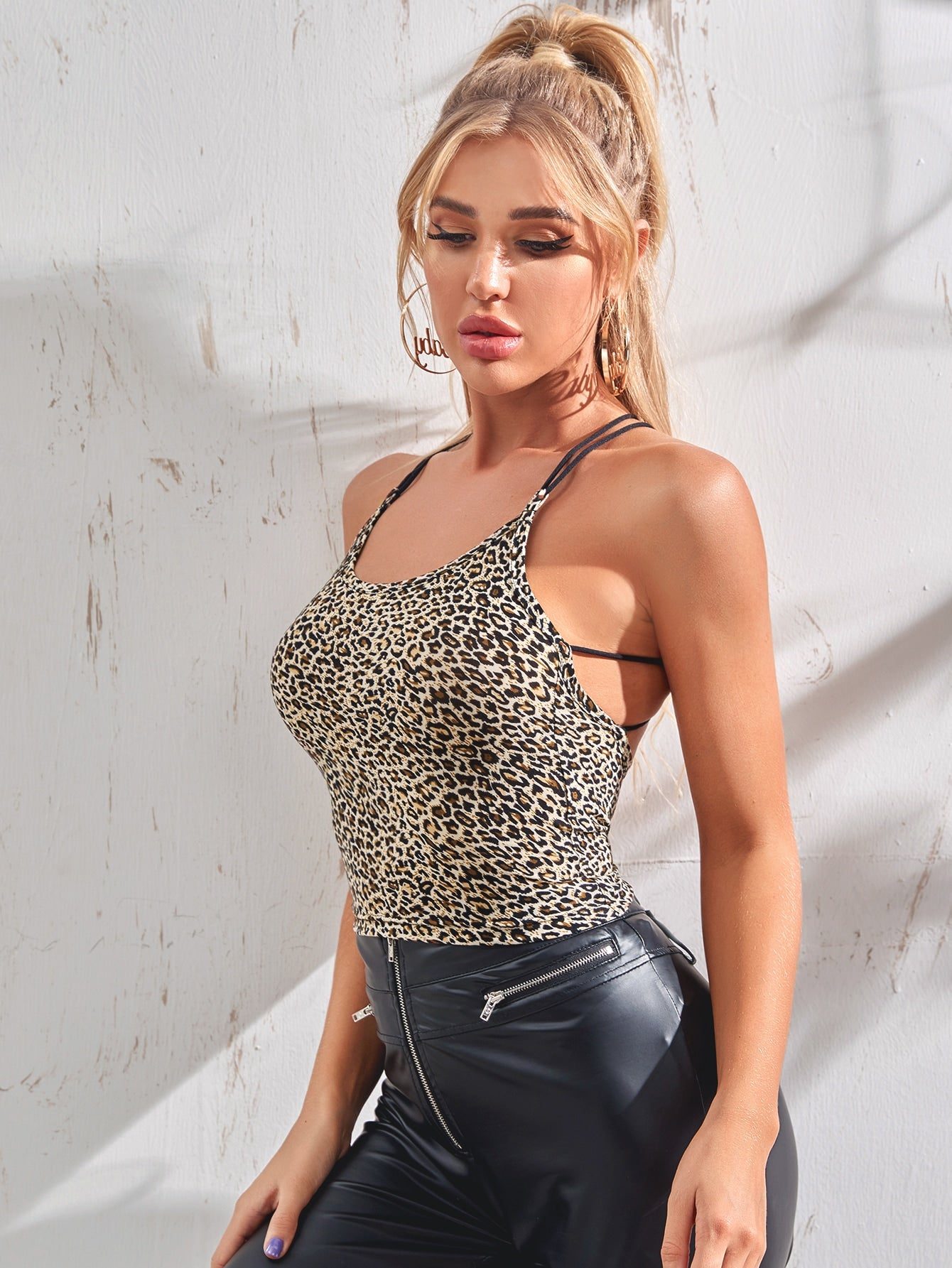 Strappy Backless Leopard Cami Top