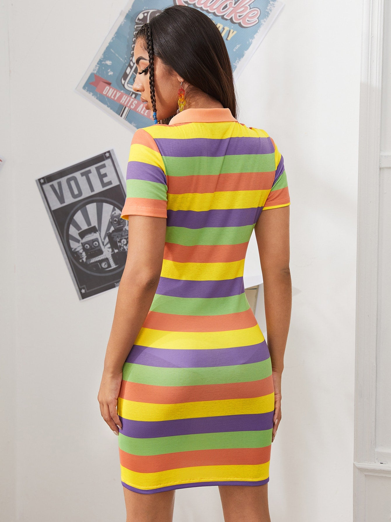 Notched Neck Rainbow Striped Dress