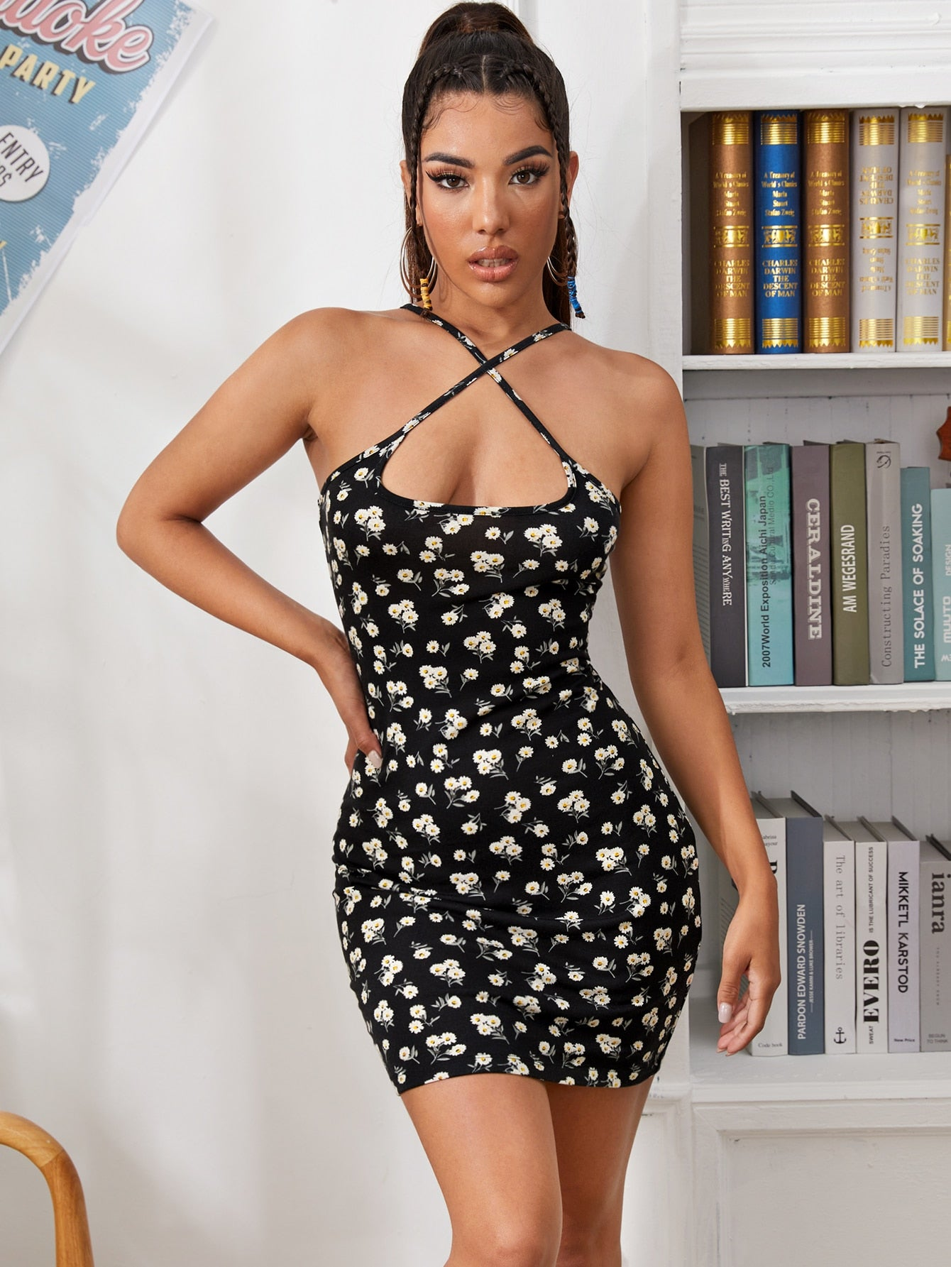 Crisscross Front Ditsy Floral Bodycon Dress