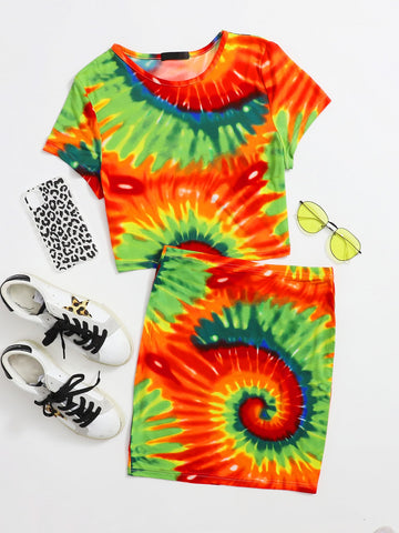 Tie Dye Tee And Skirt Set