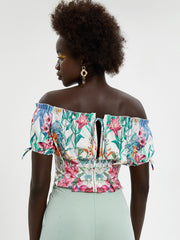Floral Tie Back Frill Bardot Top