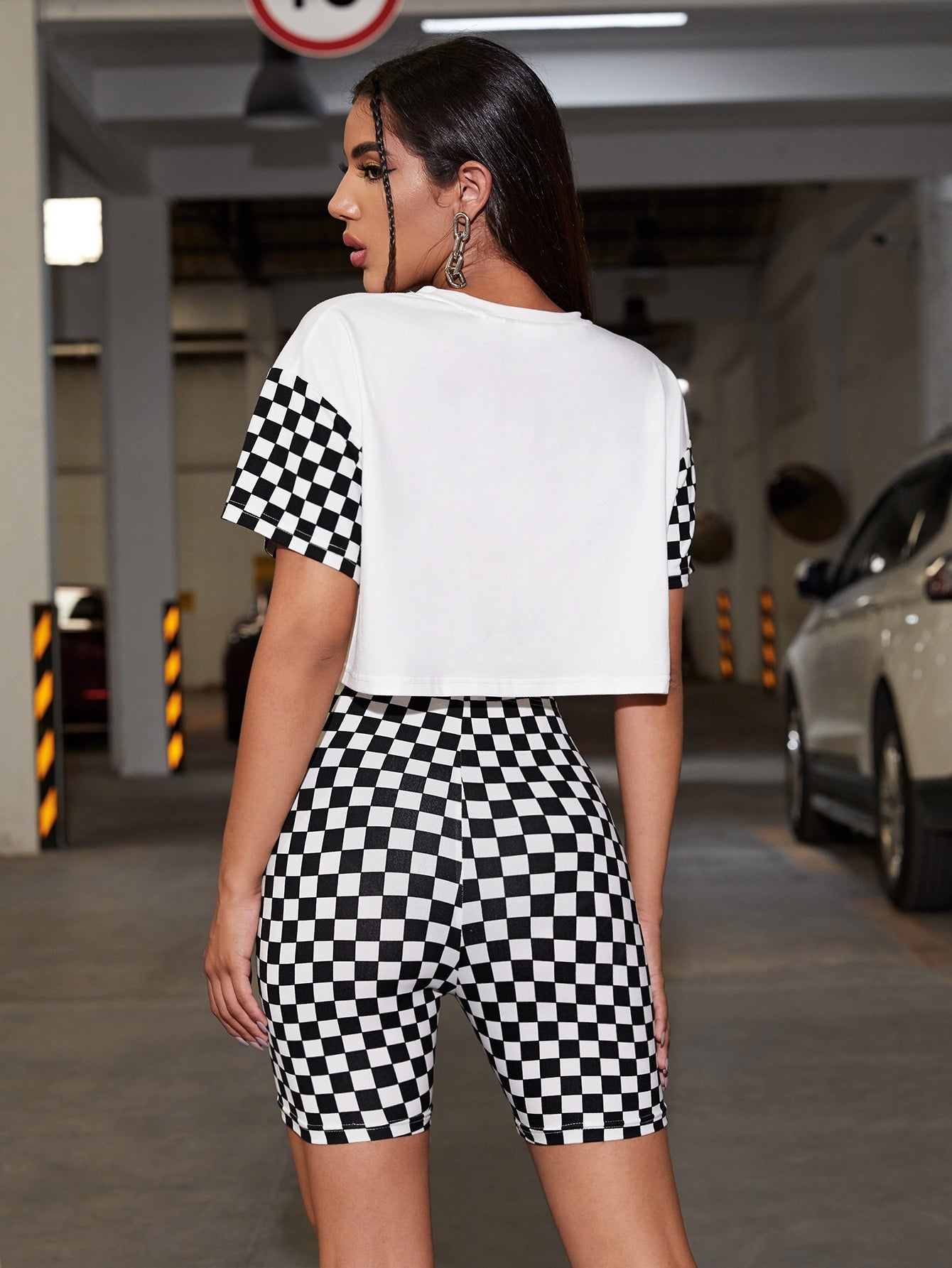 Letter and Checkered Crop Tee and Biker Shorts Set