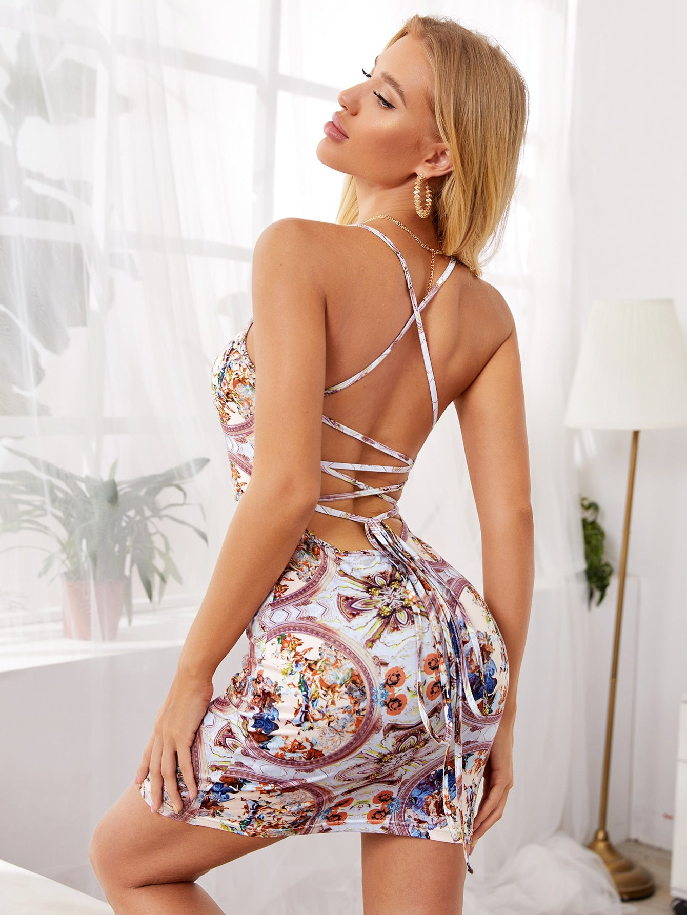 Lace Up Backless Tribal Print Bodycon Dress