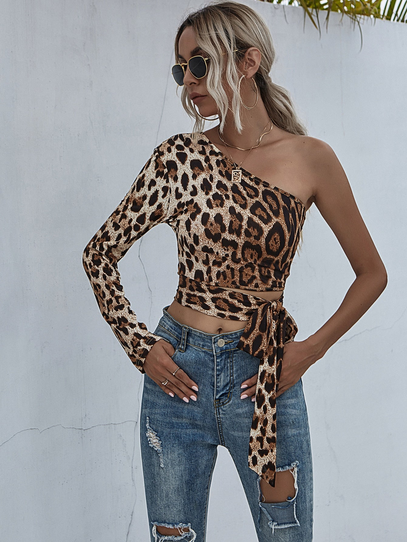 One Shoulder Leopard Print Knot Side Crop Top