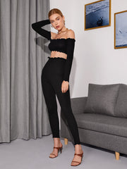 Off Shoulder Lettuce Trim Crop Top & Leggings Set
