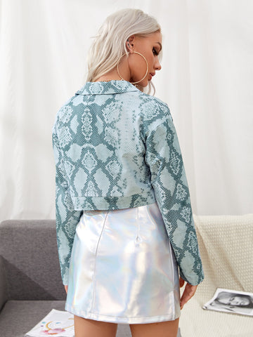 Button Front Snakeskin Crop Jacket