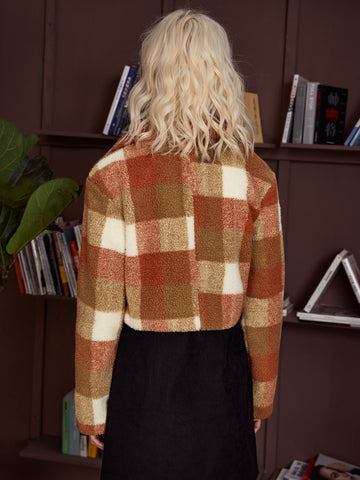Plaid Teddy Moto Jacket